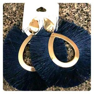 Navy blue round tassel earrings with gold trim